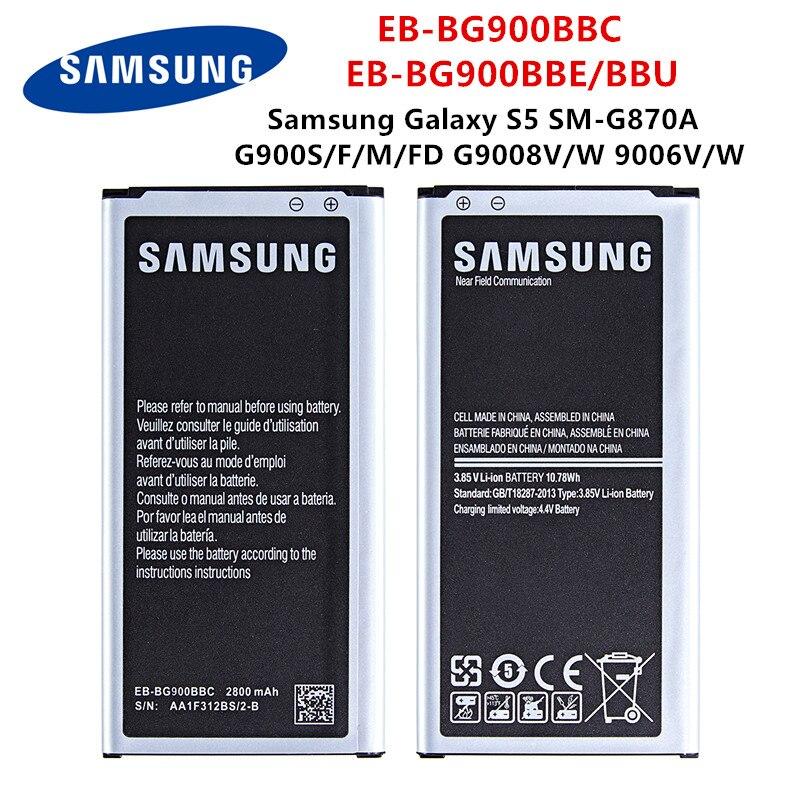 SAMSUNG original EB-BG900BBC EB-BG900BBE/BBU 2800mAh batería para Samsung Galaxy S5 SM-G870A G900S/F/M/FD...