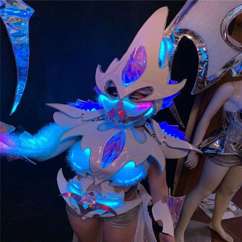 Modelo BV6 lleva trajes RGB con luces led coloridas luminosas para mujer vestido de actuación traje armadura brillante led traje disco show bar