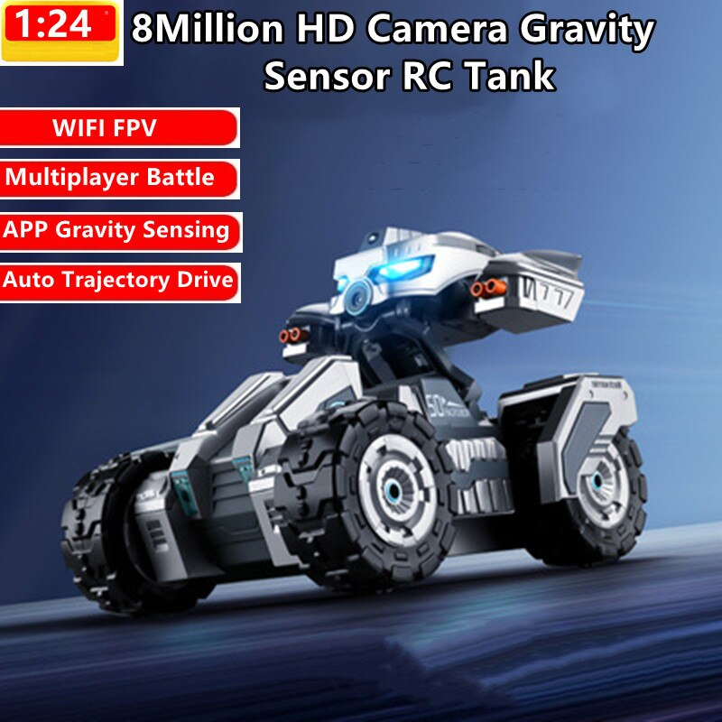 WIFI FPV Multiplayer Battle Remote Control Car 100M 30Mins 8 Million HD Camera APP Gravity Sensing Trajectory Driving RC Kid Toy