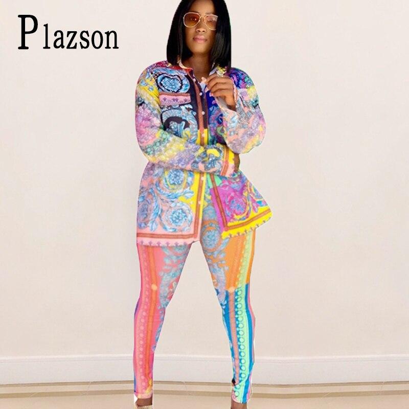 Conjunto de traje de pasarela a la Moda de Primavera para mujer, Tops estampado Vintage de manga larga, camisa + Pantalones, conjunto de dos piezas, dropshipping, conjuntos de mujer