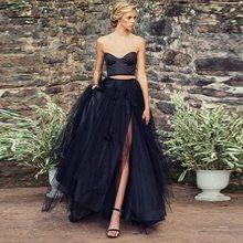 New Design Tulle Skirts Womens Fashion Elastic High Waist Mesh Sexy Tutu Split Skirt Pleated Long Skirts Long Skirt Saias Faldas