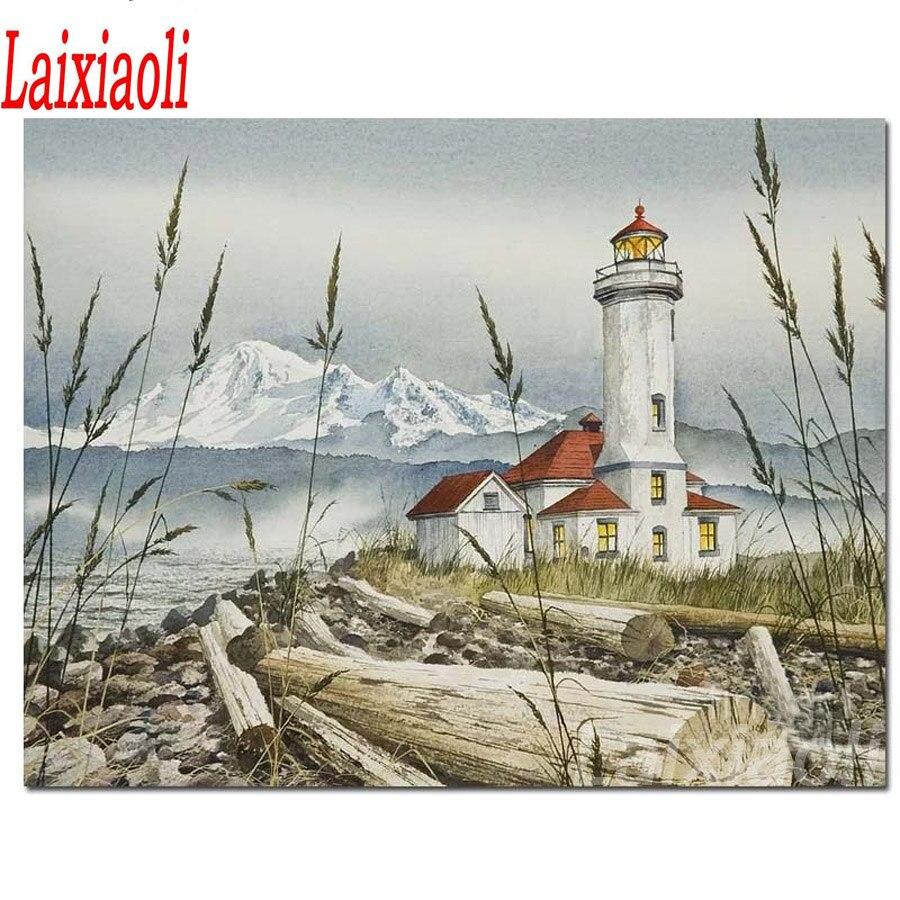5d, bordado de diamantes, pintura de paisaje de Faro, punto de cruz 3d, mosaico completo de diamantes, nieve, montaña, kits DIY, decoración del hogar