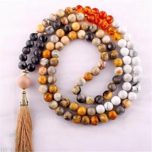 6mm Crazy Agate Gemstone Howlite 108 Beads Mala Necklace Chakra Spirituality Accessories Bless Reiki Meditation Buddhism Pray