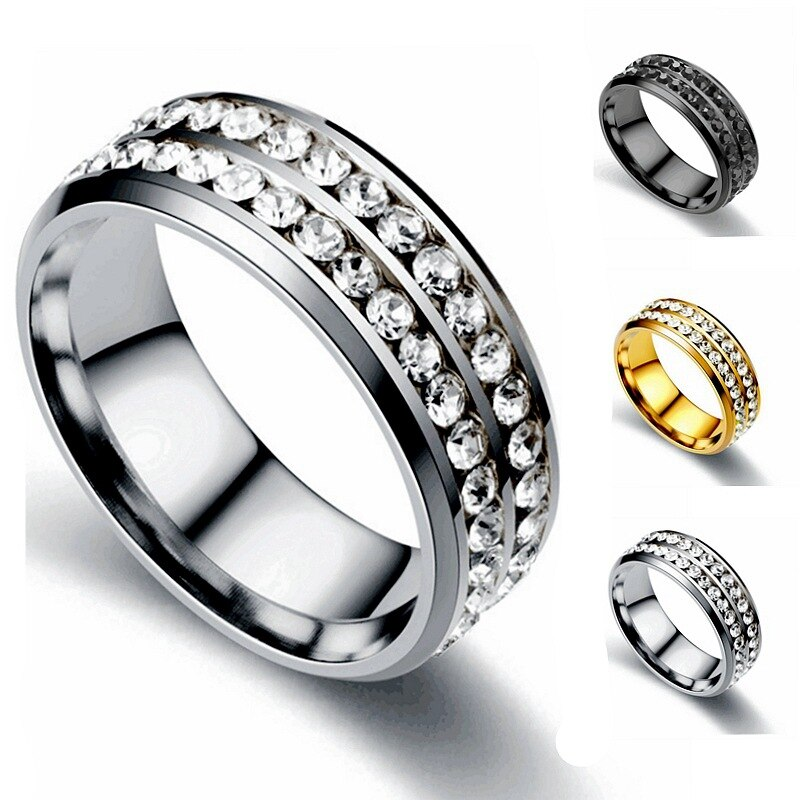JIOROMY, anillo de acero inoxidable, 2 filas, anillo de cristal de Color dorado, anillos de boda para mujeres y hombres, Jelwery