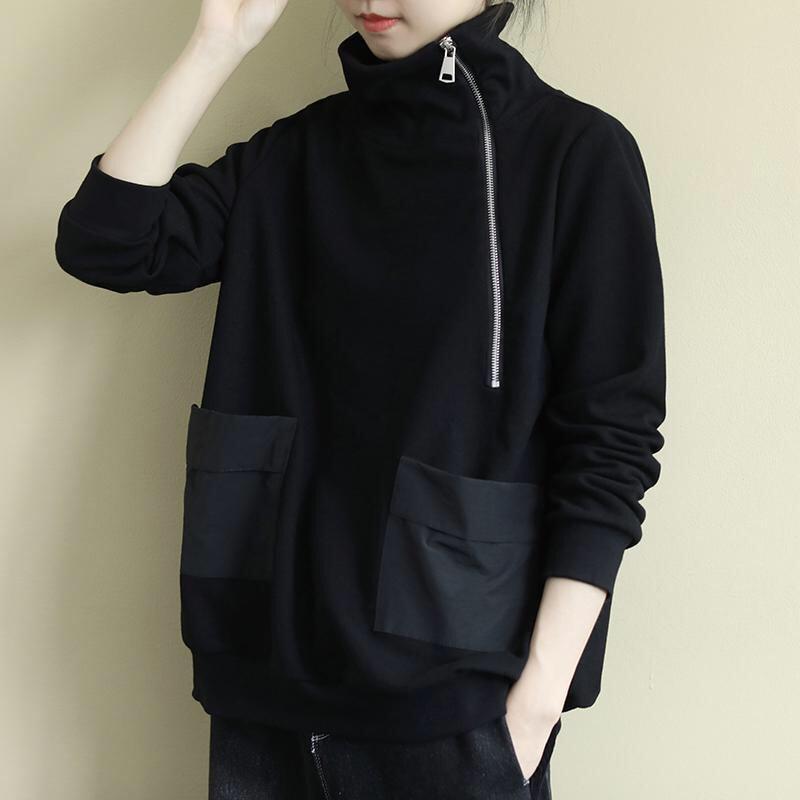 Oversized vintage moletom feminino plus size roupas gola alta zip up hoodie velo engrossar preto sweatershirts para mulher