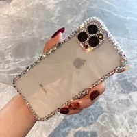 luxury fashion bling rhinestone gem diamond soft phone case for apple iphone 11 pro max 12 mini glitter camera protection cover
