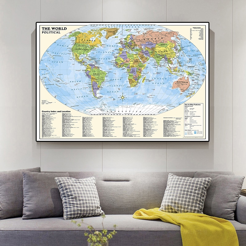 colorful world map wall decor 150x225cm large world map office supplies detailed antique poster wall chart for culture supplies 225*150cm The World Political Map Non-woven Canvas Painting Large Poster Prints Wall Home Decoration Children School Supplies