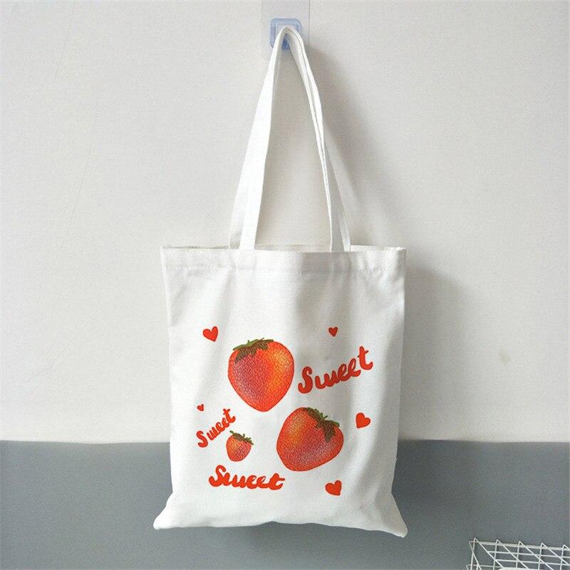 Large Capacity Shopping Bag for Women shopper Handbags fruit Print Shoulder Reusable Canvas bag Ladies sac shopping