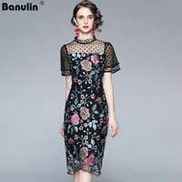 2021 new summer designer runway dot print mesh midi dress women short sleeve floral embroidery vintage party dresses n66758