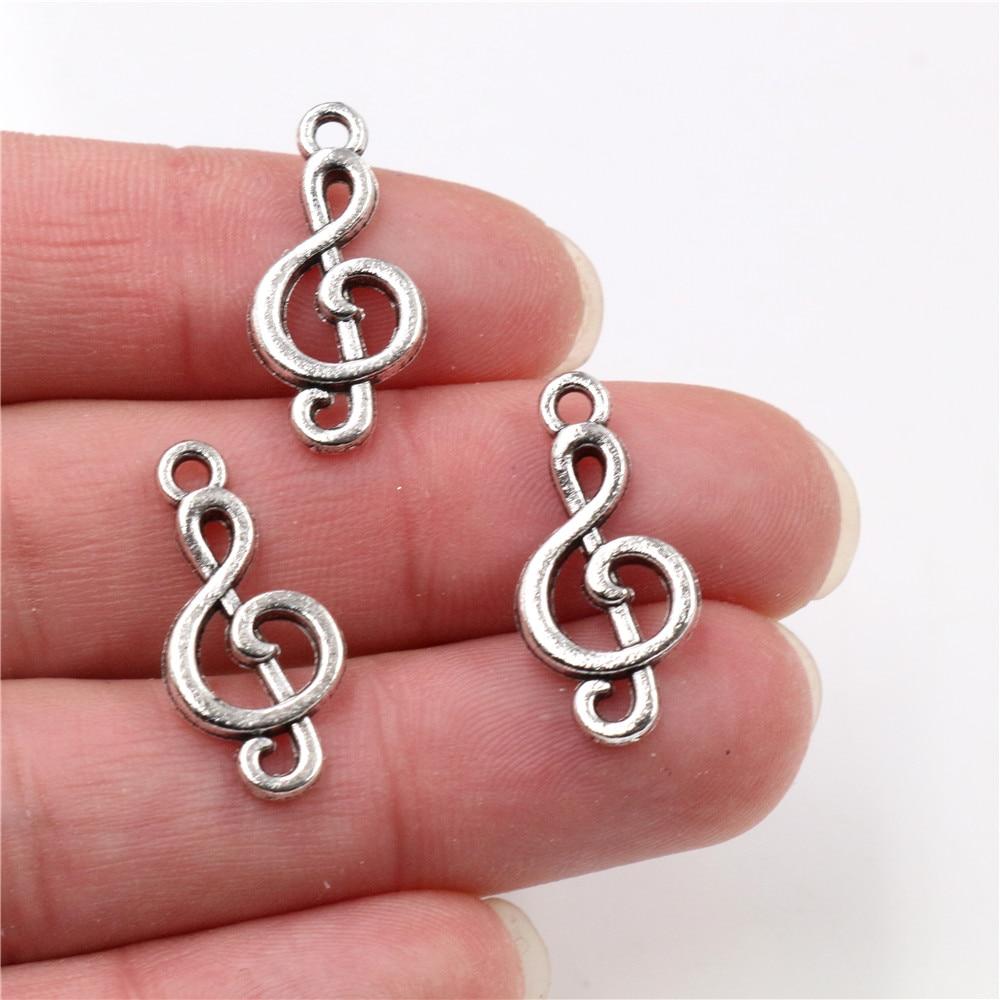 23x11mm 20 unids/lote amuletos antiguos plateados con música hechos a mano colgante DIY para pulsera necklace-Q4-47