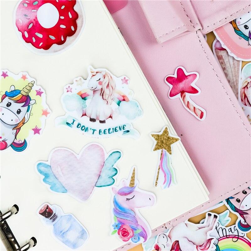 37PCS Cool unicorn Stickers Pack Pink Girl Anime Stiker For Children On The Laptop Fridge Phone Skateboard Suitcase Sticker