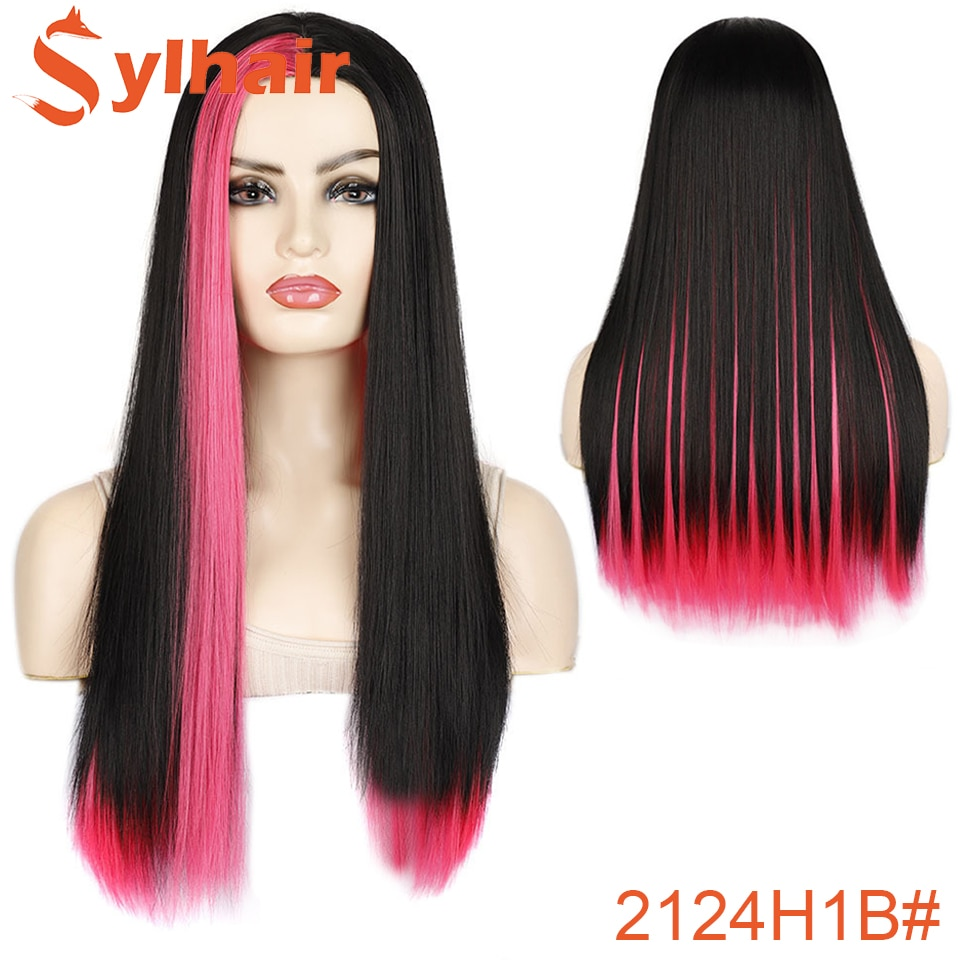 Hair Hot Pink Wig Glueless Synthetic Cosplay Wig Heat Resistant Red Highlight Drag Queen Cosplay Wigs For Black/White Women Sylh