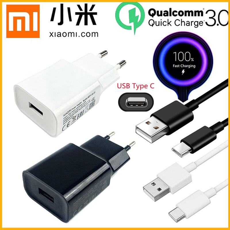 Original Xiaomi 18W Fast Charger QC 3.0 Charge Adapter USB C For Mi 8 10 Lite Mi 9 SE 9T Pro Max 3 Mix 3 A3 Redmi Note 7 8 9 Pro