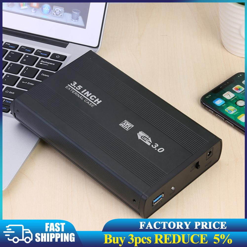 3,5 дюймовый чехол для жесткого диска SATA к USB2.0, чехол из алюминиевого сплава для жесткого диска, корпус для внешнего жесткого диска с адаптеро...
