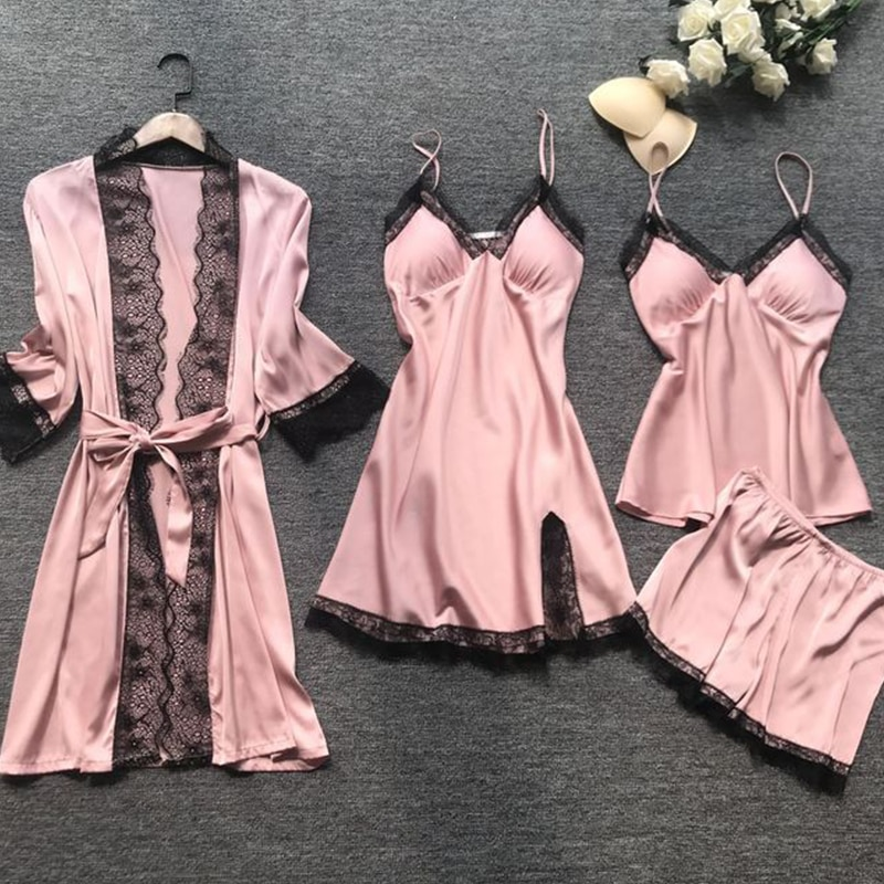 Pink Sexy Lace Lingerie Set Summer Women's Pajamas 4-piece Set Silk Sling Satin Pajamas Set Women Home Clothes set eponj home set