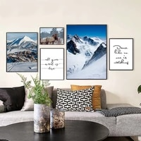 Affiches de peinture sur toile de decoration de noel  paysage de montagne de neige  tableau dart mural pour salon  decoration de maison