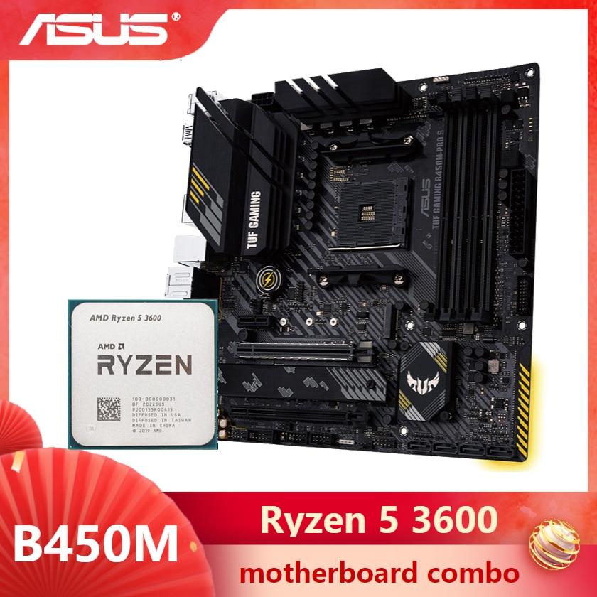 [해외] ASUS TUF B450M PRO S 게임용 마더보드 콤보 키트 세트, Ryzen 5 3600 AM4 CPU DDR4 B450