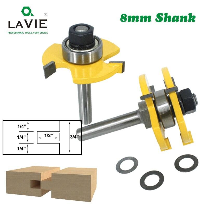 LAVIE 2 uds 8mm vástago lengüeta y ranura Junta enrutador Bits t-slot fresadora para madera herramientas de corte de madera MC02002