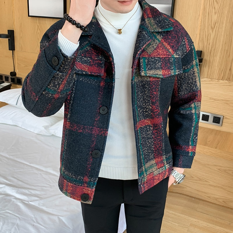 Winter Woolen Coat Men's Slim Fashion Retro Casual Tartan Jacket Man Streetwear British Wind Jacket Coat Men Overcoat M-2XL