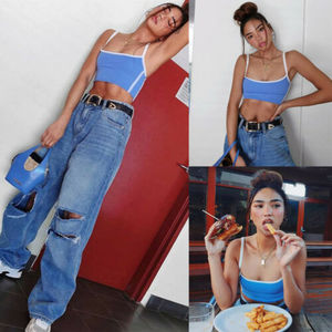 Fashion Women Crop Top Vest Sexy Ladies Sleeveless Strapless Corset Party Club Tank Ladies Blue Camisole Outwear Summer Fall