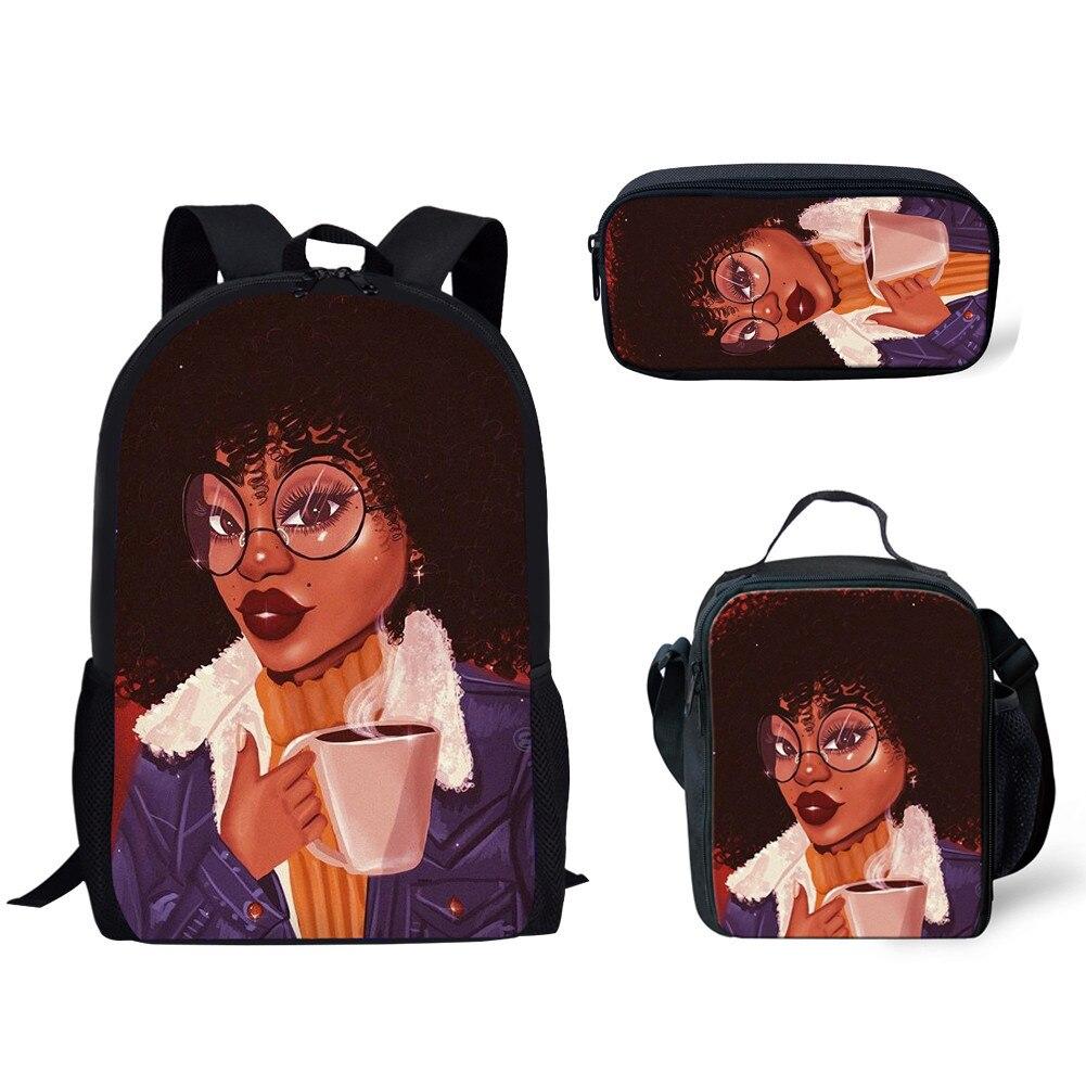 HaoYun 3pcs/Aet Afro Ladies American Girls Pattern School Bag for Teenager Girls School Backpack Children Schoolbag Kids Mochila