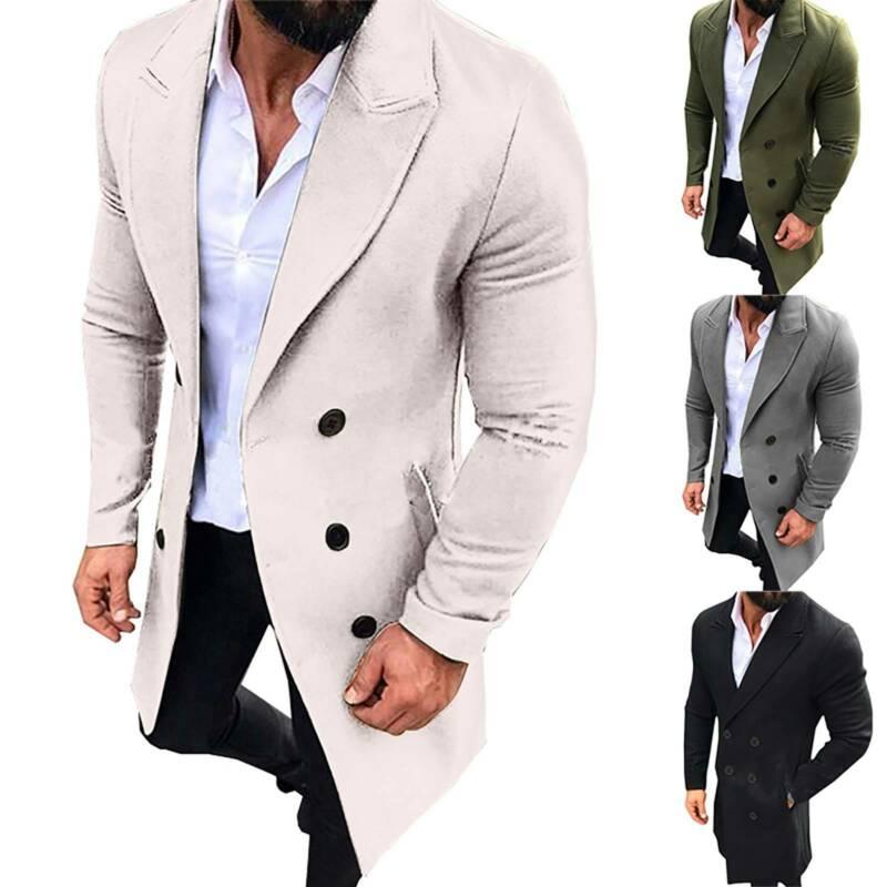 سترة Peacoat الرجال الشتاء أبلى معطف خندق معطف دافئ قمم طويلة M-3XL