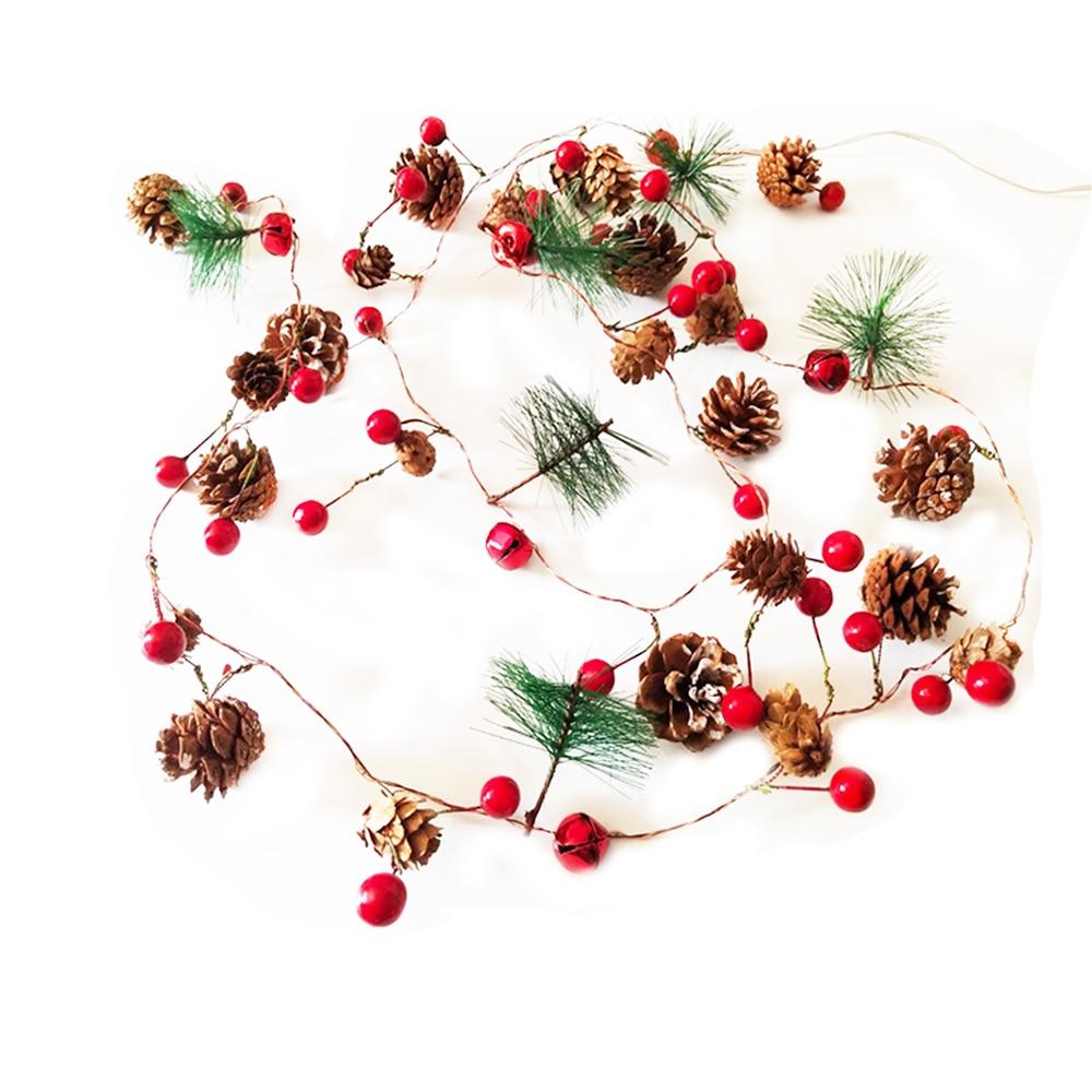 Guirnalda de luces de Navidad de bayas rojas, luces de hadas LED de cobre, luces de cadena para vacaciones de Navidad, decoración del árbol del hogar amada
