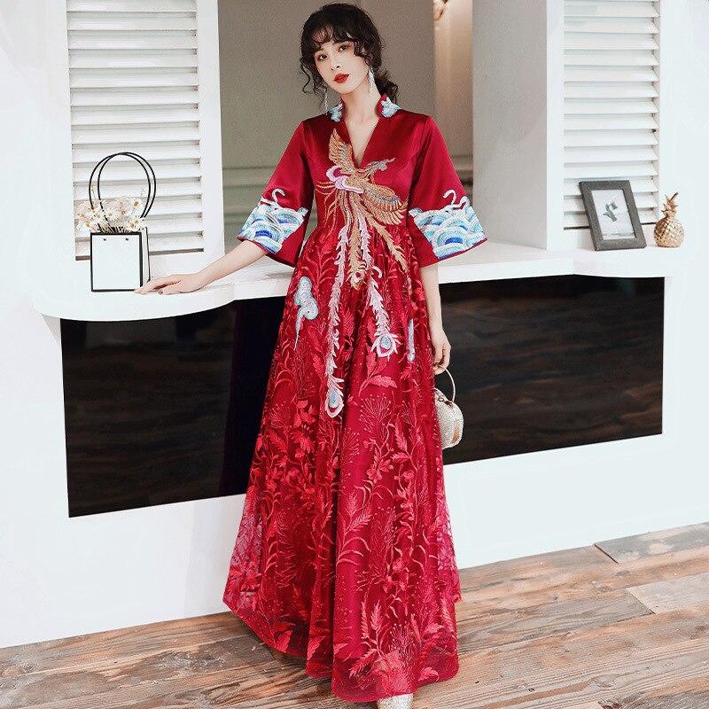 v-neck Chinese Phoenix Embroidery Design Long Sleeve Maternity Formal Dress High Waist Elegant Evening Dresses For Women ZL633 enlarge