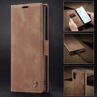 leather flip cover for samsung note 10 plus case luxury magnetic closure plain wallet phone funda for samsung galaxy note10 lite