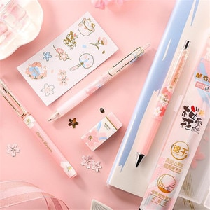 8pcs Cute Sakura Gel Pens with Pencil Box 0.5mm Mechanical Pencil Kawaii Stickers Gift for Girls Office School Stationery