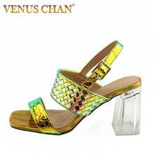 Sandales fantaisie élégantes dorées femmes filles robe talons hauts italien bleu vert sandales à talons carrés femme chaussures dété