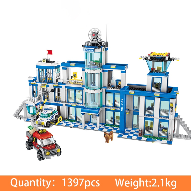 1397pcs Assemble City Police Station City Building Blocks Bricks Educational Toys Gifts For Children building blocks city police station swat model fire fighting friends fingure bricks educational toys for children