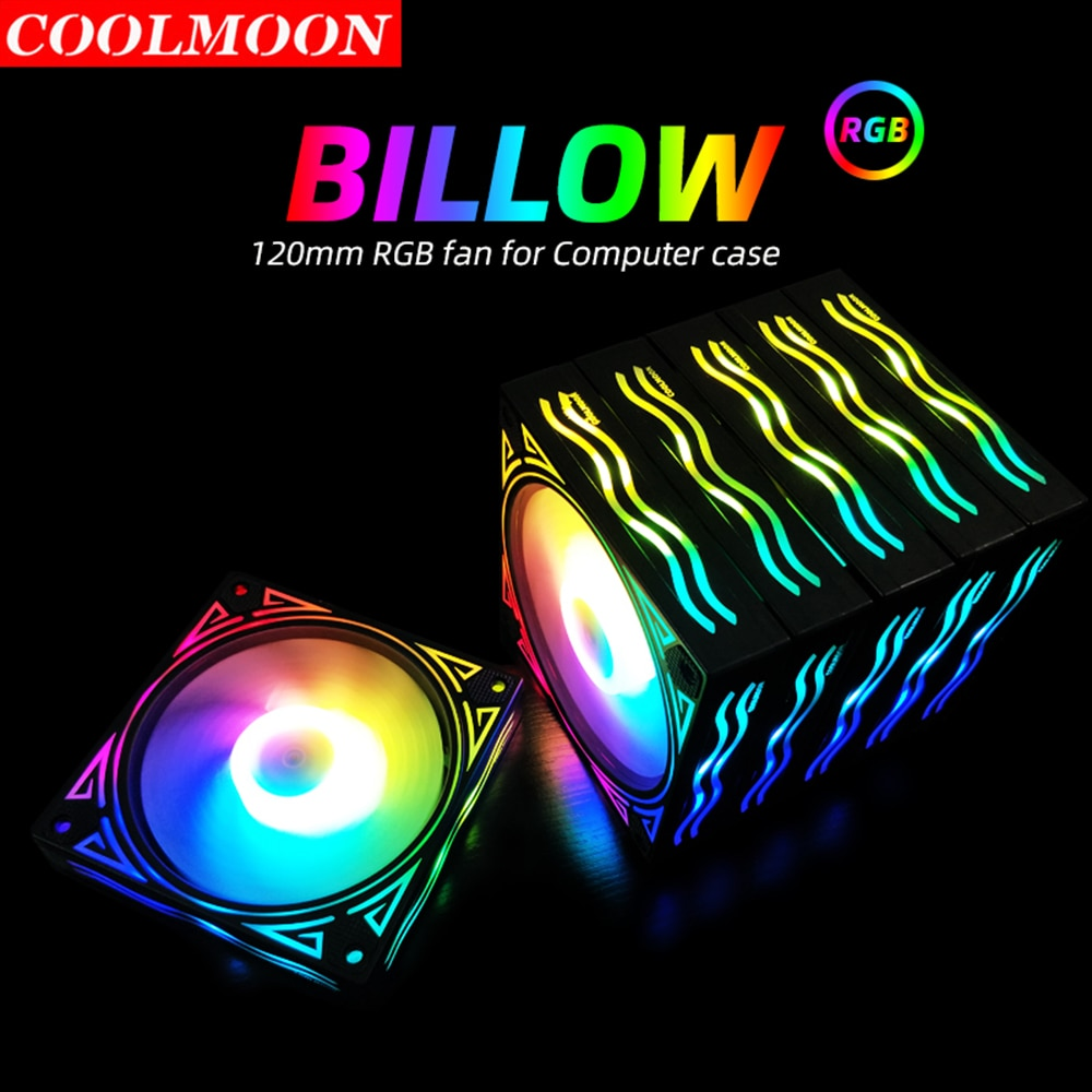 Coolmoon Billow 120mm PC Case 6 Pin Chassis Heatsink Dissipation RGB Cooling Fan Remote Controller for CPU Radiator Water Cooler