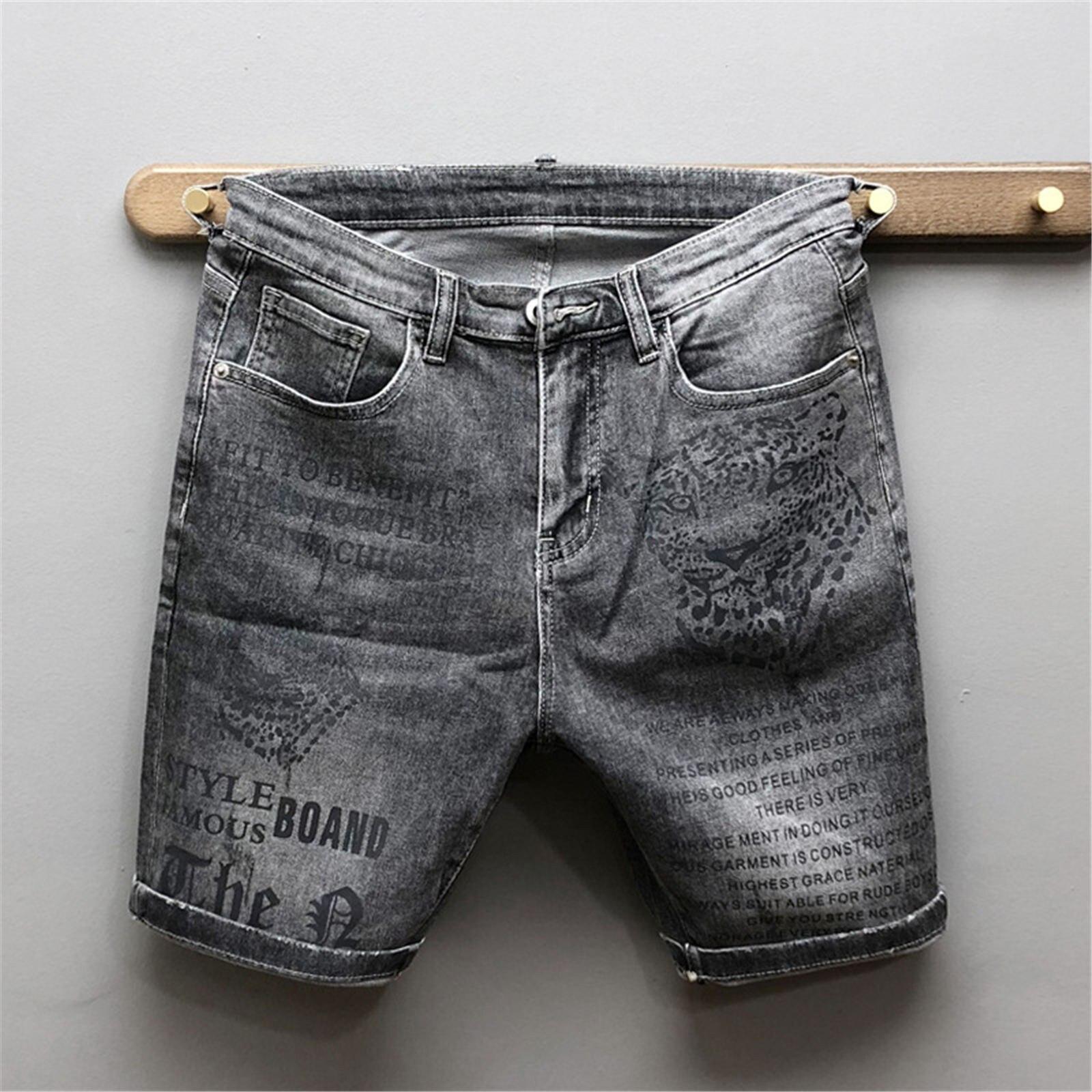 Шорты мужские джинсовые с вышивкой, повседневные однотонные модные облегающие, на молнии, удобная уличная одежда, лето A2