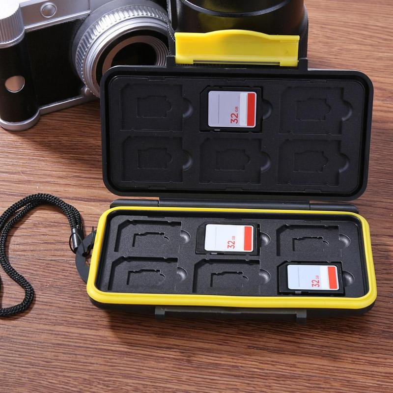 Caja de almacenamiento de tarjeta de memoria a prueba de agua caja de tarjeta de ahorro de 12 ranuras a prueba de golpes carcasa para tarjetas MD SD tarjeta SIM caja estuche protector