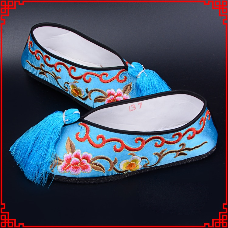 ¡Gran calidad! Zapatos de colores de ópera Chuan Yue Operas Huadan, zapatos de colores lisos bordados, zapatos de etapa de parte inferior de goma
