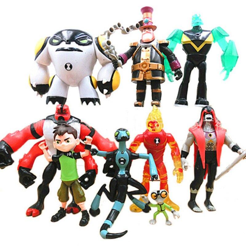 9 unids/set la tierra defensor juguetes 2019 de Ben Tennyson cuatro brazos materia gris de figuras de acción juguetes para niños juguetes de modelos de colección
