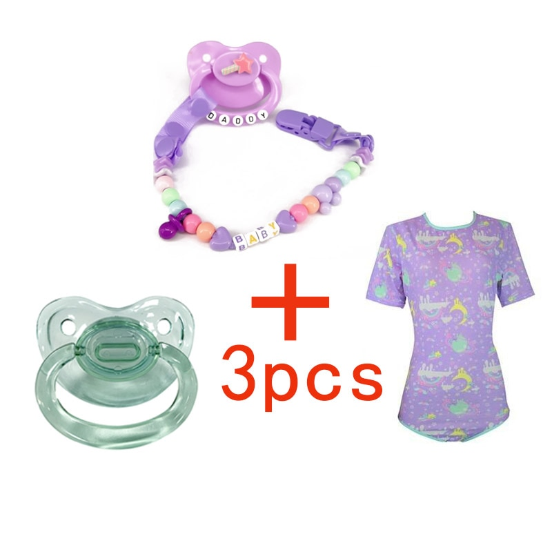 ddlg Adult Onesie Diaper lover ABDL adult baby romper pajamas Adult size nipple dad Baby girl clothes pacifier nipple chain 3pcs