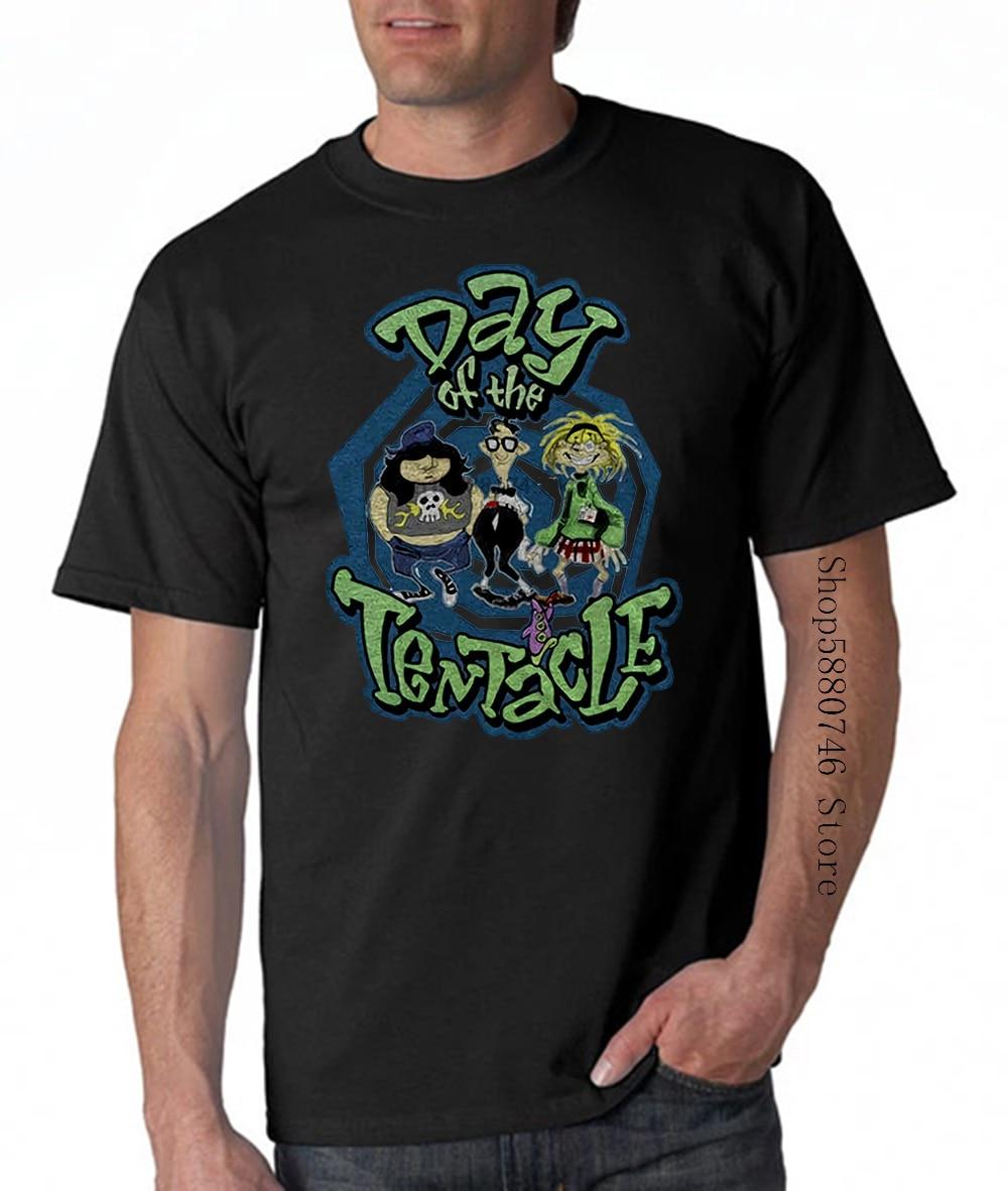 Day Of The Tentacle Encabeça Tee Camiseta Maniacmansion Lucasgames Atacado O Pescoço T-Shirt