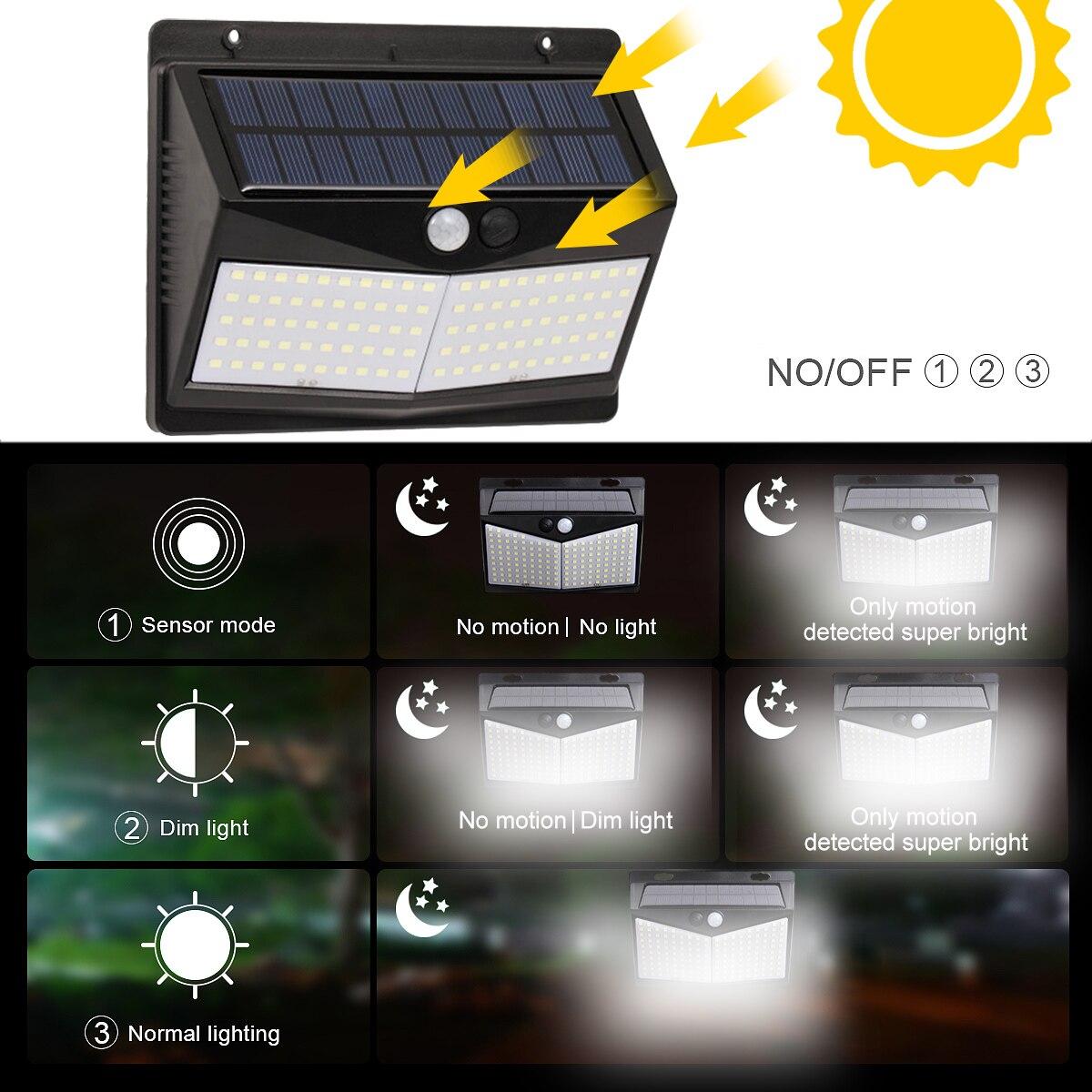 Luces de pared impermeables 3 modos móvil sin cables Sensor de luz luces solares al aire libre 108/208 LEDs 270 grados lámpara Solar angular