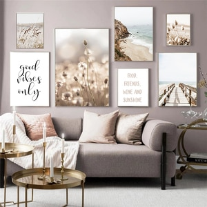 Nordic Art Letter Picture Modern Seascape Photography Canvas Painting for LivingRoom Bedroom Art Wall Decoration Printing Poster