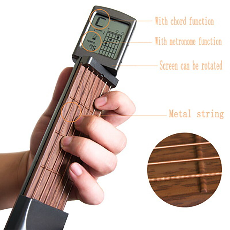 SCT-80 pocket guitar chord practice tool portable guitar neck trainer with rotating chord chart for beginners (without battery)