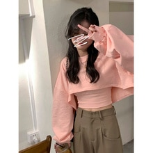 Sports High Street Hoodie Fashion Two-piece Set Korean Loose Short Pullover Cotton Long Sleeve Top S