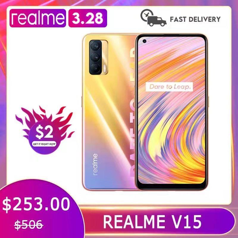 Перейти на Алиэкспресс и купить Realme V15 5G смартфон 50 Вт Быстрая зарядка 6,4 ''amoled полноэкранный 64MP тройные камеры 4310 мА/ч, MTK Dimensity 800U мобильный телефон