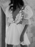 Mini Length 3D Flowers Appliques Wedding Danc Dress Half Lantern Sleeves Deep V-Neck Backless Pearls 2021 Bridal Bridesmaid Gown