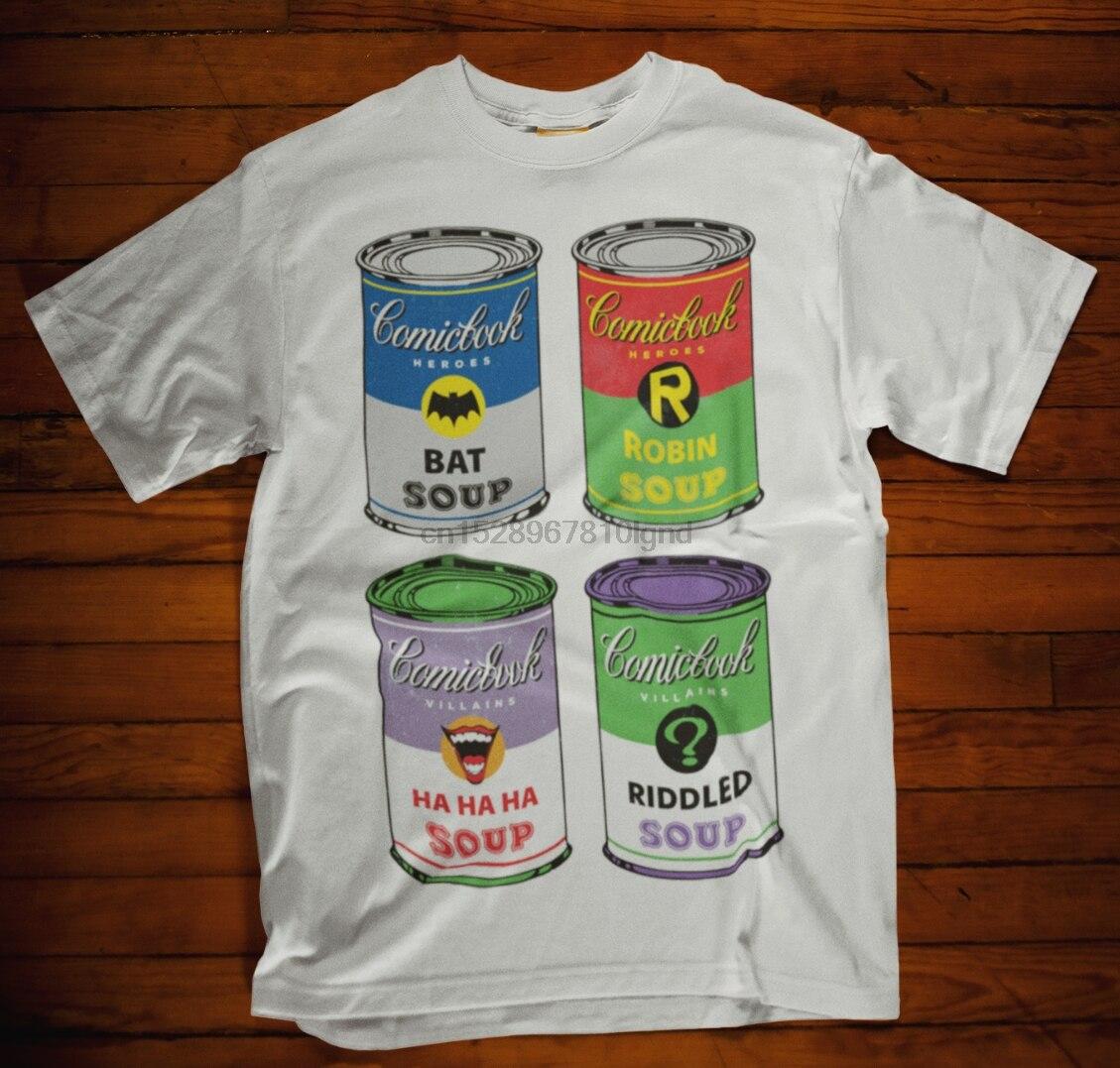 Camiseta de Comic Book Soup Can Bat acertijo Robín jahaha película Tv superhéroe Navidad