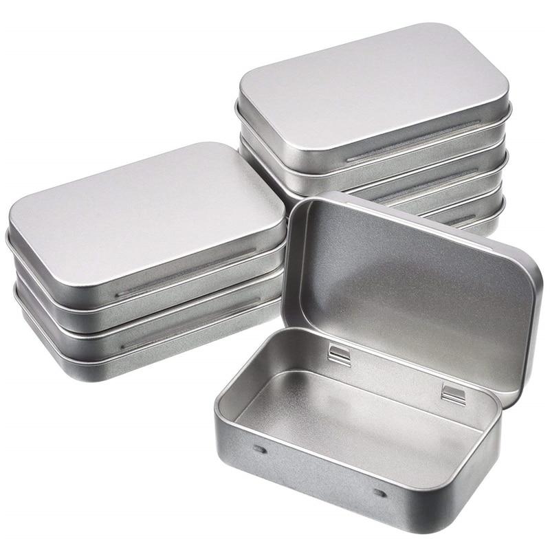 12pcs/set Tin Box Portable Rectangle Small Metal Tin Silver Flip Storage Box Case Organizer For Money Coin Candy Keys