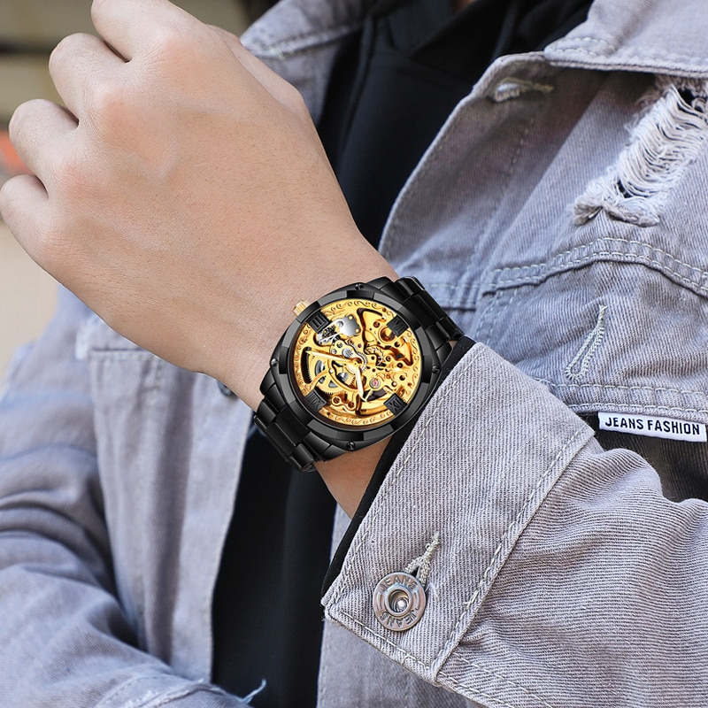 Men's Top Brand Luxury Gold Business Mechanical Watches Fashion Business Hollow Mechanical Watches For Mens  2021