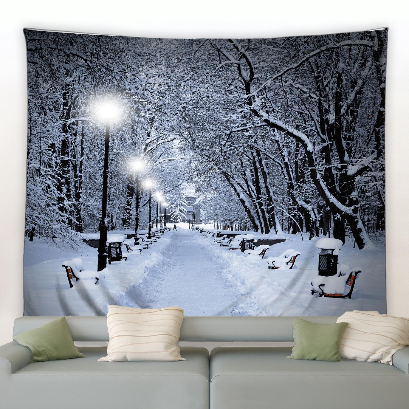 Гобелен с изображением снежного леса, деревьев в заснеженном джунглях, настенное одеяло, гобелены с Зимним Пейзажем, спальни, гостиной, спал...
