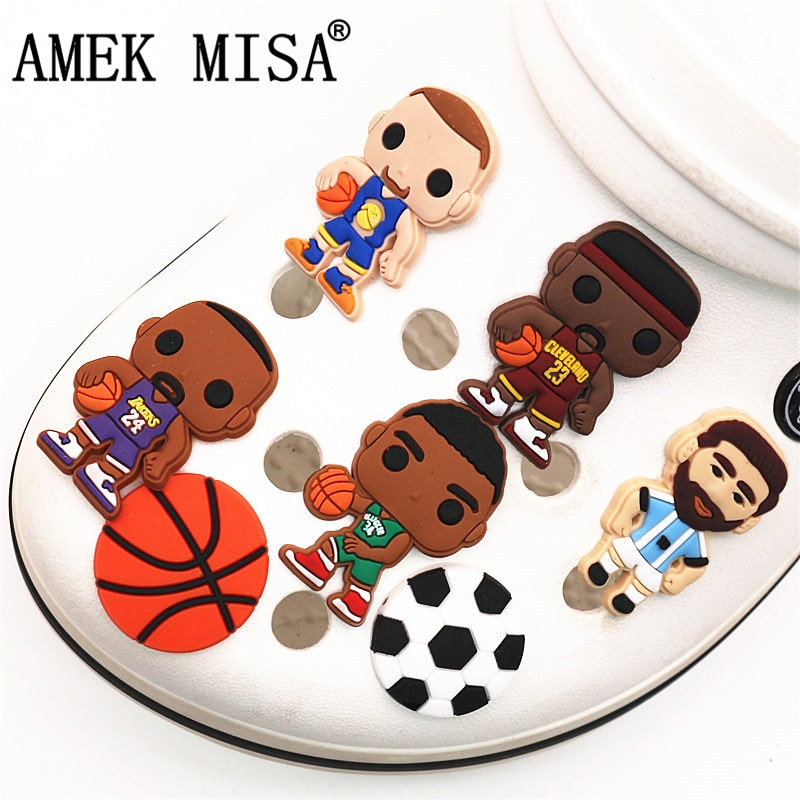 aliexpress.com - Free Shipping 1pcs Player Style PVC Shoe Charms Decoration Basketball football Shoe Accessories fit croc jibz Kid's Party X-mas